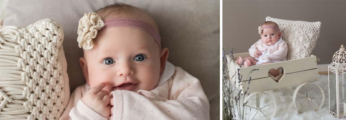 Zauberhaftes Newborn-Fotoshooting mit Baby im Vintage Kinderwagen auf Schafsfell in Nürnberg